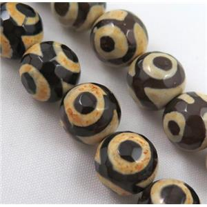 tibetan style Agate bead, eye, faceted round, approx 10mm dia, 15.5 inches