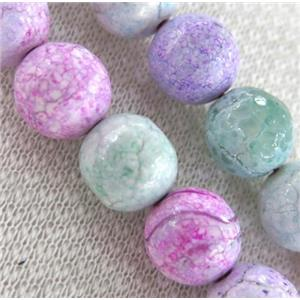 fired agate beads, faceted round, colorful