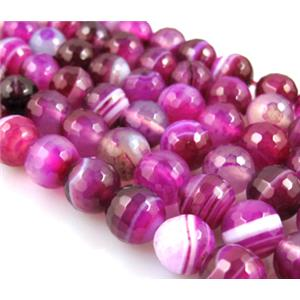 agate beads, faceted round, stripe , hotpink