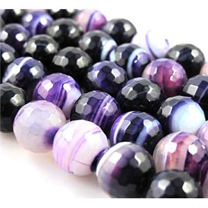 purple/black agate beads, faceted round gemstone, stripe