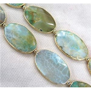green dragon veins Agate Beads, faceted oval, gold plated