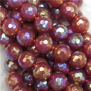 faceted round Red Agate beads, AB color plated