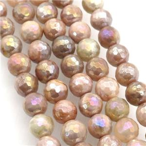 faceted round SunStone bead, B-grade, AB-color electroplated, approx 8mm dia