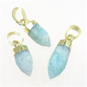 blue Amazonite pendant, faceted bullet, gold plated