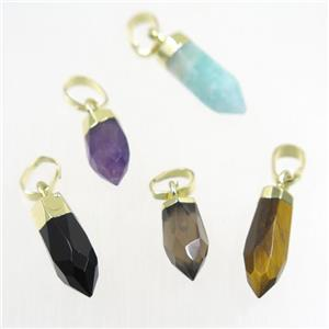 mix gemstone pendant, faceted bullet, gold plated