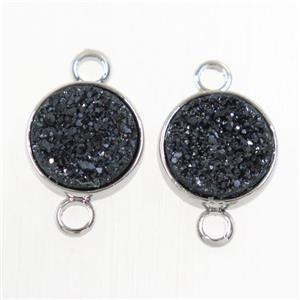 black Druzy Resin connector, circle, platinum plated