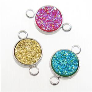 mix color Druzy Resin connector, circle, platinum plated