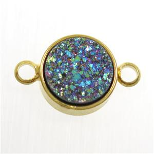 rainbow Druzy Resin connector, circle, gold plated