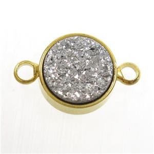 silver Druzy Resin connector, circle, gold plated