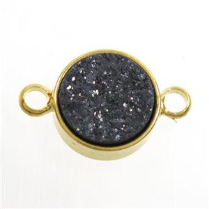 black Druzy Resin connector, circle, gold plated