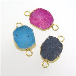 mix color Druzy Agate connector, gold plated