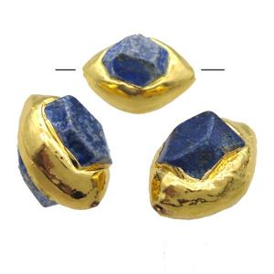 gemstone bead, gold plated, freefrom, approx 22-25mm