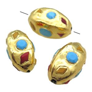 gemstone bead, gold plated, freefrom, approx 20-35mm