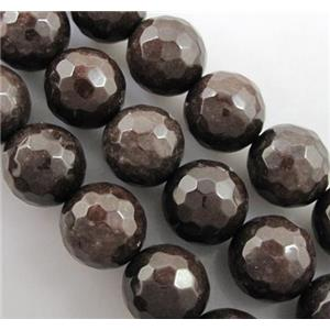 deep coffee Quartzite Jade Beads, faceted round, 14mm dia, approx 26pcs per st