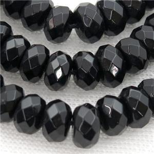 Natural Black Onyx Agate Beads, faceted abacus