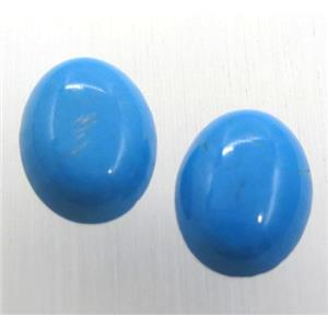 natural turquoise oval cabochon, blue treated