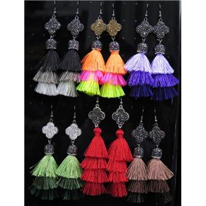 tassel earring paved rhinestone with nylon wire, mix color
