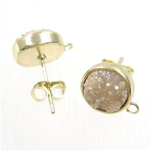 golden champagne druzy quartz earring studs, flat-round, gold plated