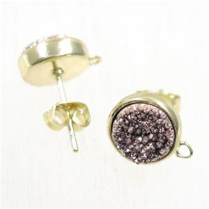 coffee druzy quartz earring studs, flat-round, gold plated