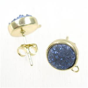 gray-blue druzy quartz earring studs, flat-round, gold plated
