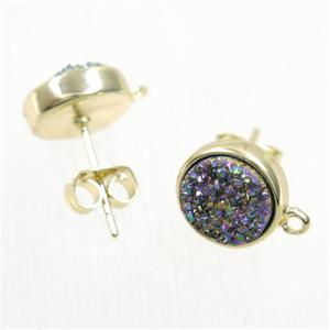 rainbow druzy quartz earring studs, flat-round, gold plated