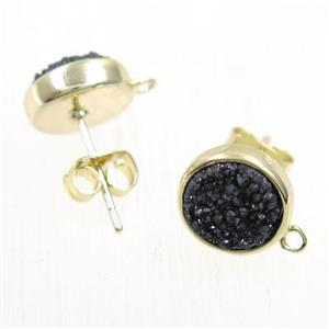 black druzy quartz earring studs, flat-round, gold plated