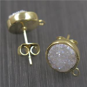 white AB-color druzy quartz earring studs, flat-round, gold plated