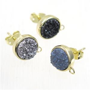 druzy quartz earring studs, mix color, flat-round, gold plated