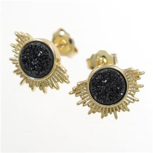 black Druzy Agate Earring Studs, gold plated
