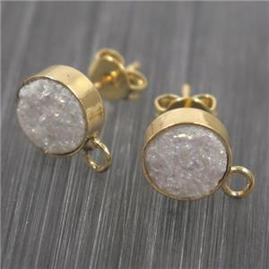 white druzy quartz earring studs, gold plated