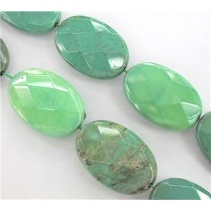 green grass agate beads, faceted flat-oval