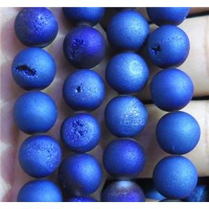 round druzy agate beads, matte, blue electroplated