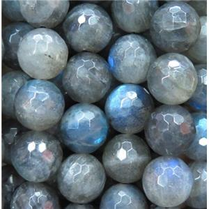 Labradorite beads, faceted round, AA-Grade