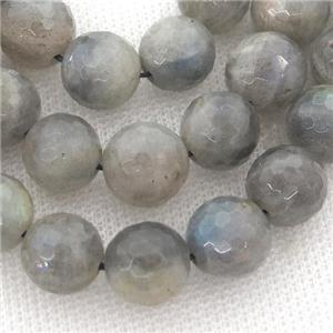 faceted round Labradorite beads, A-grade, lt.gray