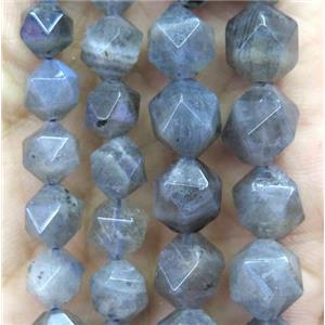 faceted round Labradorite beads ball, gray