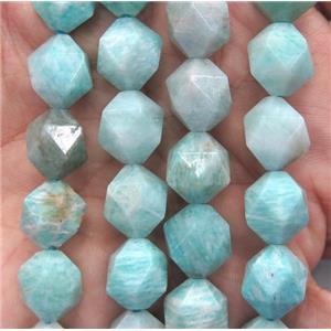 Russian Amazonite ball beads, green, faceted round, A-grade