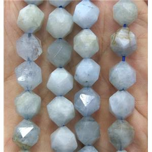 Aquamarine ball beads, faceted round, lt.blue