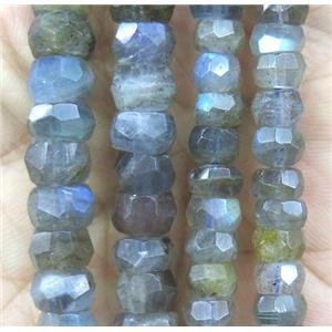 natural Labradorite beads, faceted rondelle