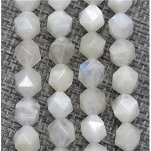 natural rainbow MoonStone beads ball, faceted round, white