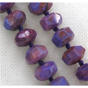 purple Agate beads, faceted roundelle, dye