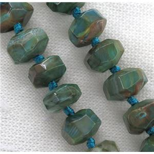 faceted Agate roundelle beads, peacock blue dye