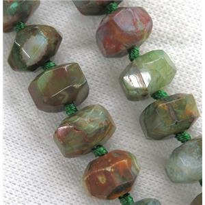 green Agate beads, faceted rondelle, dye
