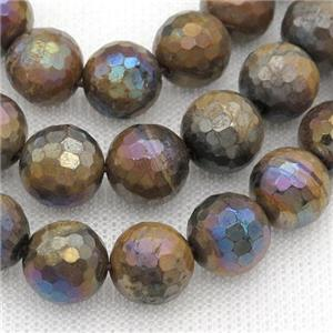 AB color Tiger eye stone beads, faceted round