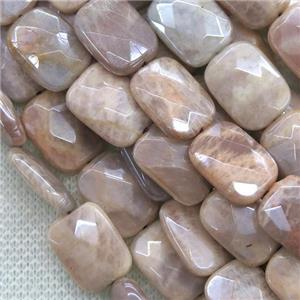 peach MoonStone beads, faceted rectangle, AB color plated