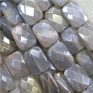 gray MoonStone beads, faceted rectangle, AB color plated
