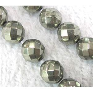 faceted round Pyrite Beads