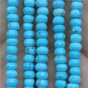 tiny turquoise beads, faceted rondelle