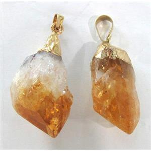 natural healing citrine pendant, freeform nugget, gold plated