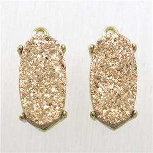 rose gold Druzy Agate oval connector, gold plated