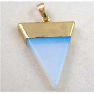 white opalite pendant, triangle, approx 25-35mm